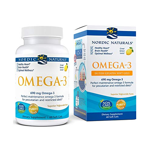 Nordic Naturals Omega-3 in Fish Gelatin, Lemon Flavor - 690 mg Omega-3 - 60 Fish Gels - Fish Oil - EPA & DHA - Immune Support, Brain & Heart Health, Optimal Wellness - Non-GMO - 30 Servings