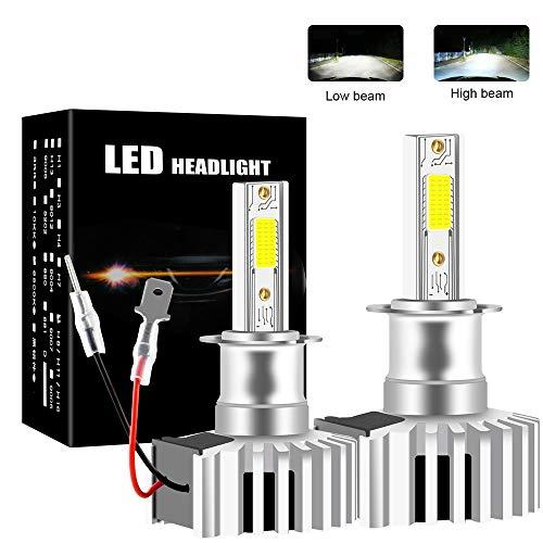 Chemini Bombilla de faro LED H3, foco bajo/alto, diseño de bombilla halógena 1: 1, chip COB de alto brillo 6000K blanco 60W
