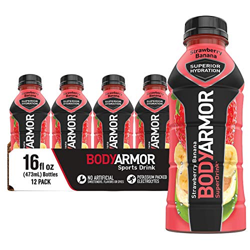 BODYARMOR Sports Drink Sports Beverage, Strawberry Banana, Natural Flavors With Vitamins, Potassium-Packed Electrolytes, No Preservatives, Perfect For Athletes, 16 Fl Oz (Pack of 12)