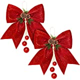 Whaline 2pcs Christmas Bow, Red Wreaths Bows, Large Christmas Tree Bow, Sequin Bow Ties, Xmas Decorative Bows for Home Ornament Decoration, Christmas Party, 9.8 x 11.8in