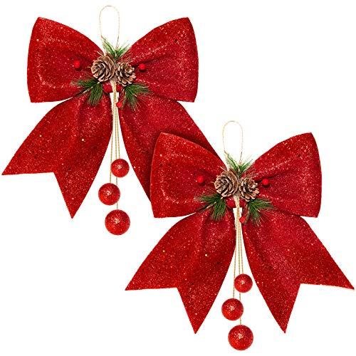 Whaline 2 Stück Weihnachtsschleife, rote Kränze, große Weihnachtsbaumschleife, Pailletten-Fliege, Weihnachtsdekorationsschleifen für Zuhause, Dekoration, Weihnachtsfeier, 24,9 x 30 cm