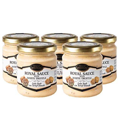 White truffle Royal Tuber magnatum Pico Weißen Trüffel mit Sahne und Käse, ideal für Fleisch, gegrilltes Brot, Omeletts, Pasta, Risotto, Sushi (5 x 80g)