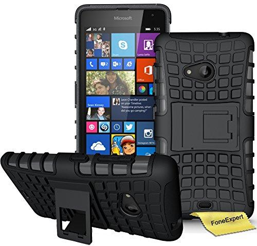 Microsoft Lumia 535 Handy Tasche, FoneExpert® Hülle Abdeckung Cover schutzhülle Tough Strong Rugged Shock Proof Heavy Duty Hülle für Microsoft Lumia 535 + Bildschirmschutzfolie (Schwarz)