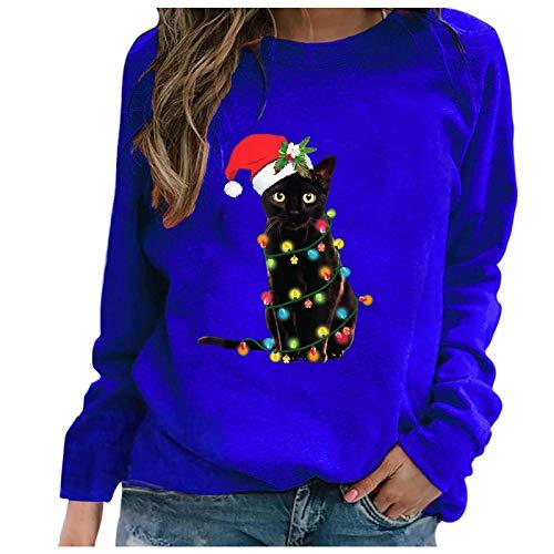 Wenese 2020 - Maglione natalizio da donna, stampa alla moda, con scollo rotondo, maglione di Natale Blu 1 XXXL
