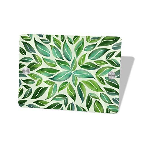 Mei-ltd - Señal de mandala con diseño de hoja de primavera, decoración de pared de garaje, para puerta de habitación, hogar, oficina, salón o uso comercial, 5.5 x 7.5 pulgadas
