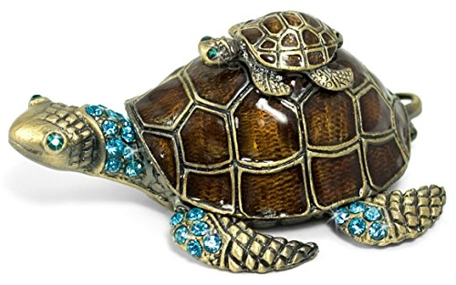 Mama Turtle and Baby Enamel Crystal Pewter Hinged Trinket Box