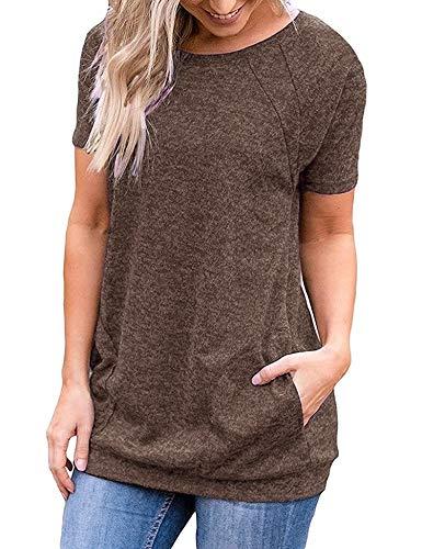 iClosam Camiseta para Mujer Verano con Cuello Redondo Túnica Loose Fit Top con Bolsillos Laterales
