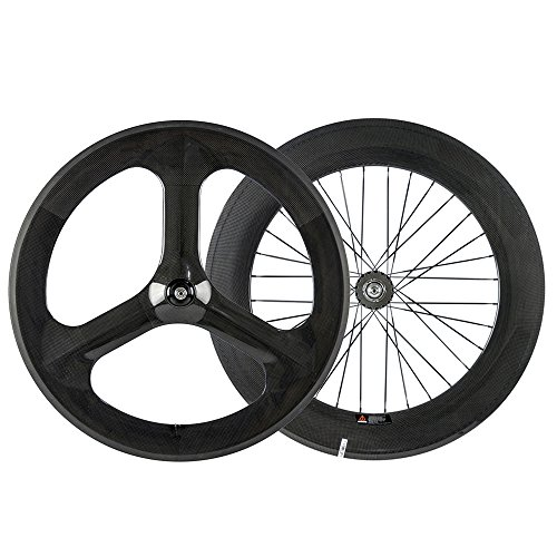 WINDBREAK BIKE T700 Carbon 3 Spoke 70mm Front Wheel 88mm Rear Wheel For Fixed Gear Bike