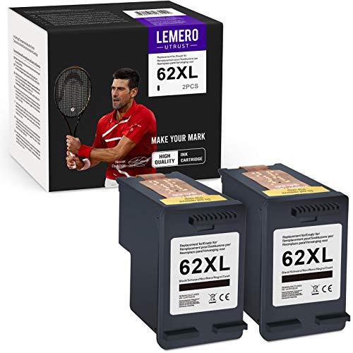 LEMEROUtrust 62XL(2xNegro) Reacondicionado Cartuchos de Tinta Compatible para HP 62 XL para HP OfficeJet 5640 5646 5740 5742 5744 5745 5746 eAIO Envy 7640 7645 5642 5644 eAIO Impresora