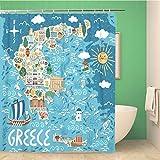 Awowee Decor Duschvorhang Landkarte von Griechenland Reise griechische Sehenswürdigkeiten Baupflanzen 180 x 180 cm Polyester Stoff wasserdicht Badvorhänge Set mit Haken für Badezimmer