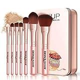 Juego de 7 brochas de maquillaje Darren May PRaised, base colorete, sombra de ojos, labios, brochas de maquillaje con estuche portátil