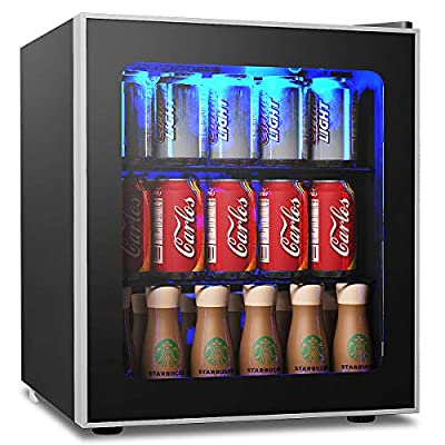 COSTWAY Beverage Refrigerator and Cooler – 62 Cans Capacity Mini Drink Fridge with LED Light, Adjustable Thermostat, Glass Door, Removable Shelves for Soda Beer or Wine for Office, Bar (1.6 cu ft)