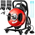 VEVOR Drain Cleaner Machine 50FTx1/2In. Electric Drain Auger 370W Sewer Snake Machine, Fit 2''- 4'' / 51mm - 102mm Pipes, w/4 Wheels, Cutters,Foot Switch, for Drain Cleaners Plumbers