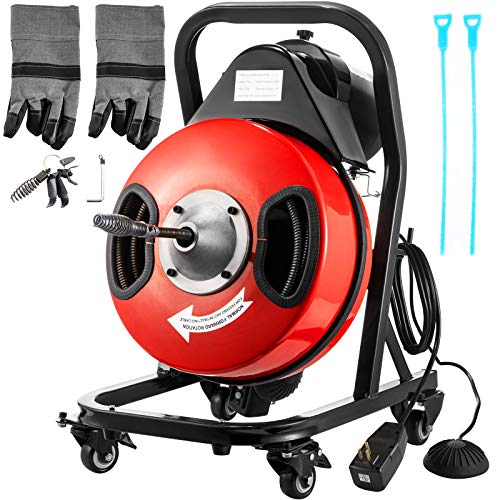 VEVOR Drain Cleaner Machine 50FTx3/8In. Electric Drain Auger 250W Sewer Snake Machine,Fit 1-1/2''(38mm) to 3''(76mm) Pipes, w/4 Wheels,Cutters,Foot Switch,for Drain Cleaners Plumbers