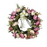 Higger Classique Artificielle Simulation Couronne de Fleurs Décoration pour Maison,Chambre,Jardin et Linteau en Forme de Coeur,Rose Foncé,28cm