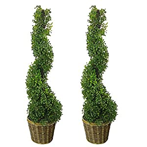 Admired By Nature 3' Artificial Boxwood Leave Topiary Plant Tree in Basket, Green/Two-Tone Set of 2, C.ABNT002B-NTRL-2, 2 Count
