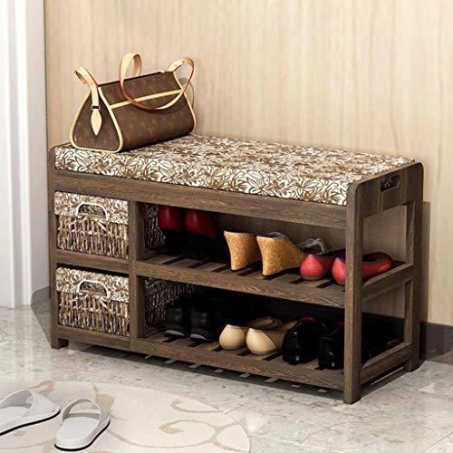 M-YN Zapatero Pasillo Banco de Almacenamiento de Zapatos apilable, gabinete de Zapatos con 2 cajones y cojín de Asiento de Madera (Color : Brown)