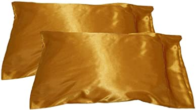 AKDSteel Pillow Case Imitation Satin Silk Pillowcase Bed Pillow Cover for Bed Supplies (Without Pillow Inner) Gold 50X76 Home