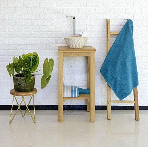 wohnfreuden Tea-Holz Waschtisch lasiert SMINI 38x38x80 cm Waschbecken Unterbau