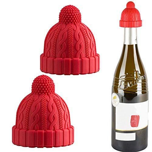 Corchos de vino de silicona, 2 tapones decorativos para botellas para mantener fresco, reutilizable, conservador de vino, vino, cerveza, champán, alcohol, vino espumoso