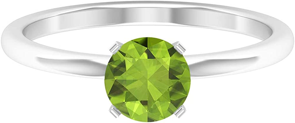 0.85 CT Solitaire Peridot Ring, Simple Engagement Ring, Solid Gold Wedding Ring, 14K Gold