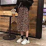 CIDCIJN Faldas De Mujer Verano,Verano Animal Print Leopardo Falda Midi De Impresión Mujer De Cintura Alta División Lateral De Gran Suavidad De Leopardo Falda Midi