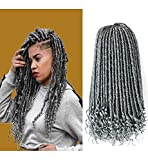 GX Beauty 6Packs Goddess Locs Crochet Hair 16Inch Faux Locs with Curly Ends Ombre Grey Goddess Faux Locs Hair Soft Synthetic Braiding Hair Extensions for Black Women