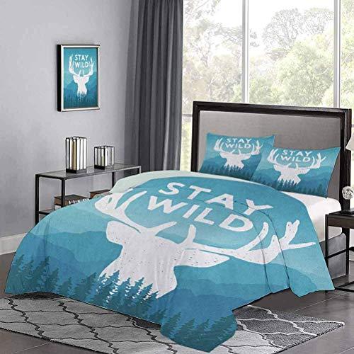 Yoyon Funda de edredón de con temática Salvaje Stay Wild Quote con telón de Fondo de montaña escénica Bosque Moderno Juego de Colcha de Colcha Ligera Muy Suave y Suave Azul bebé Azul Oscuro