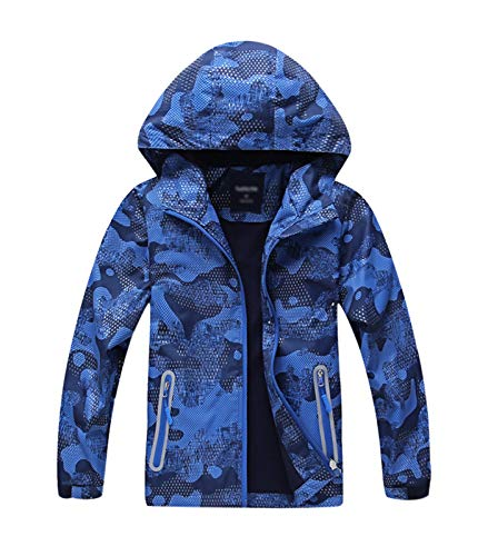 YoungSoul Jungen Gefütterte Regenjacke Gemusterte Übergangsjacke Wasserdicht Winddicht atmungsaktiv Softshelljacke mit Kapuze,130,Blau