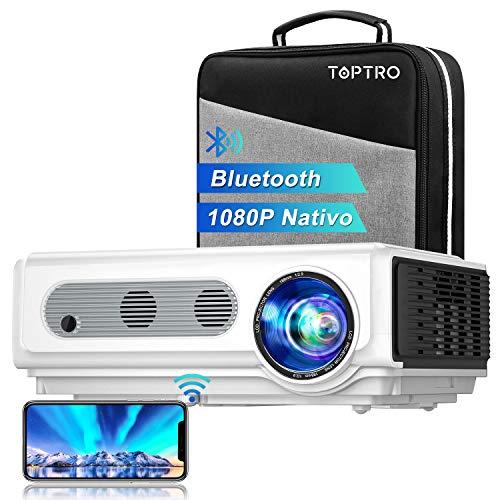 """Proyector WiFi Bluetooth Full HD 1080P, TOPTRO 7500 Lúmenes Proyector 1080P Soporta 4K y Función de Zoom, Pantalla 300\"""" Contraste 10000:1 Proyector LED Cine en Casa para iPhone,Android,PC,TV Box,PS5"""