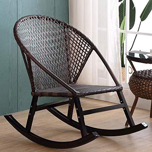 Mecedora de ratán, Silla de jardín de Gravedad Cero, sillón reclinable Impermeable y Transpirable con protección UV para el hogar, jardín al Aire Libre,Negro