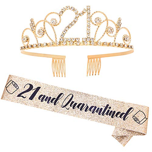 '21 & Quarantined' Sash and Rhinestone Crown Set - 21st Birthday Party Gifts Birthday Sash for Women Quarantined Birthday Party Supplies