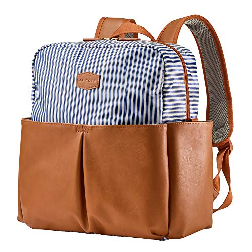 JJ Cole Popperton Boxy Backpack Diaper Bag, Ticking Stripe