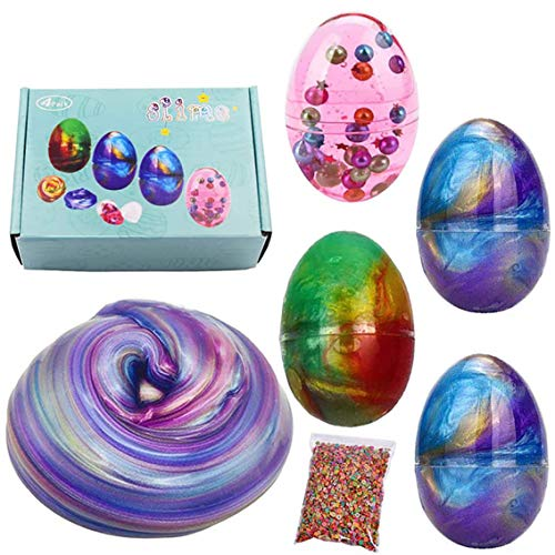 Stress Relief DIY Juguetes, BESTZY Slime Kit Crystal Clay Slime, DIY Slime, Fluffy Slime Galaxy Egg, Masilla de juguete Cloud Slime, Stress Relief DIY Toys for Kids Adults, 4 Pack