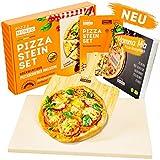 Pizza Mondo® Pizzastein für Backofen, Grill & Gasgrill (inkl. Pizzaheber & Rezeptbuch) Original...