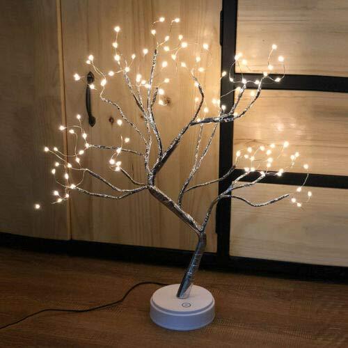 20'' Fairy Light Spirit Tree Lamp Sparkly Tree Lamp Battery/USB Operated LED Mini Christmas Tree Light for Desktop Home Festival Halloween Decoration (Warm White)