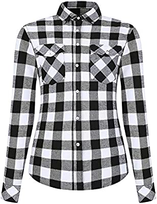 DOKKIA Women's Casual Blouses Long Sleeve Plaid Checkered Button Down Flannel Shirts