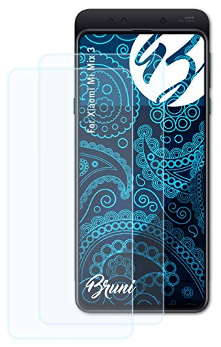 Bruni Schutzfolie kompatibel mit Xiaomi Mi Mix 3 Folie, glasklare Bildschirmschutzfolie (2X)
