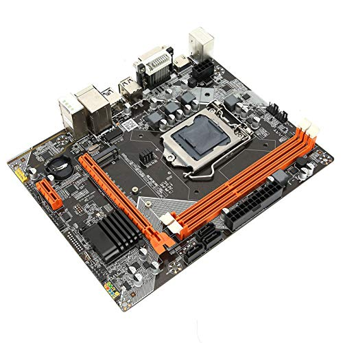 M-ATX M.2 LGA 1155 Motherboard for Desktop Computers, Dual Output VGA HDMI DVI Motherboard PCI-EX1 USB2.0 SATA2.0 Hard Drive M.2 Network RJ45 Motherboard with Slots Network Card for In-tel h61