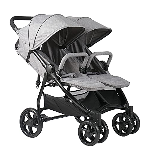 Qaba Side by Side Baby Double Stroller for Toddlers Twin Pushchair...