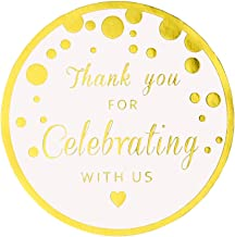 Thank You For Celebrating With Us Stickers,Round Circle Favor Gift Labels Stickers, Metallic Gold Ink,50-Pack 2 Inch