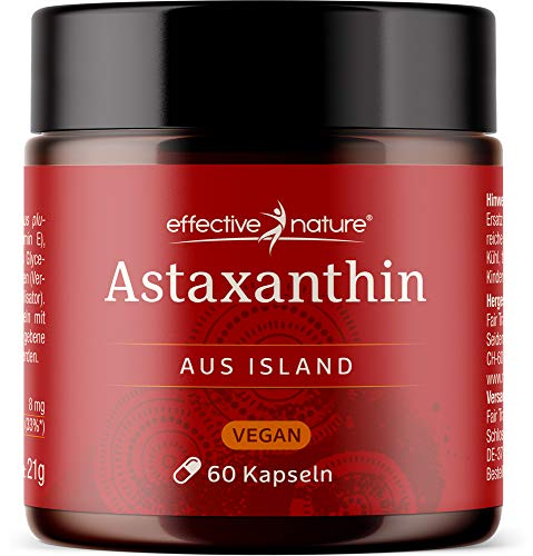 effective nature vegane Astaxanthin Kapseln - Entwickelt und produziert in Island, Hochdosiert mit 8 mg Astaxanthin pro Tagesdosis, 60 Stück