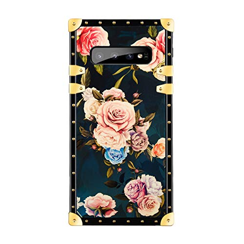 Funermei Flower Luxury Case for Samsung Galaxy S10,3D Soft Colorful Rose Floral Rivet Pattern Cute Design Slim Cover,Unique Women Girls Lady Phone Skin, Color TPU Cases for Galaxy S10