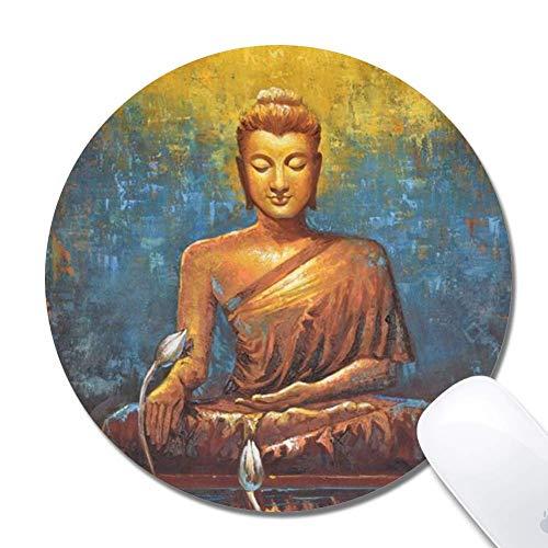 Computer Buddha und Lotus Zeichnung Runde Mauspad (7,8x7,8 Zoll), bedruckte Gummi Schreibtisch Zubehör Maus Matte