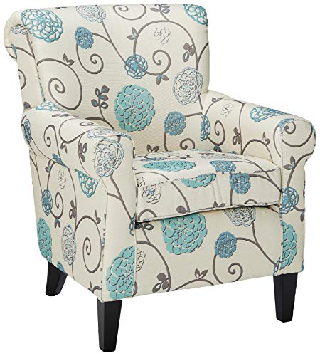 Christopher Knight Home Roseville Blue Floral Accent Lounge Chair, Decorative Club Chair in Blue Flower and Vines Pattern