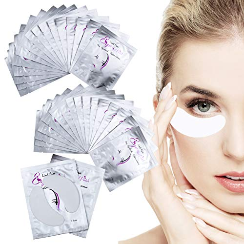 50 Pares de Almohadillas de Gel para Extensiones de Pestañas Parches Ojos Pestañas Eye Patches Collagen Parches para Ojos Sin Pelusa
