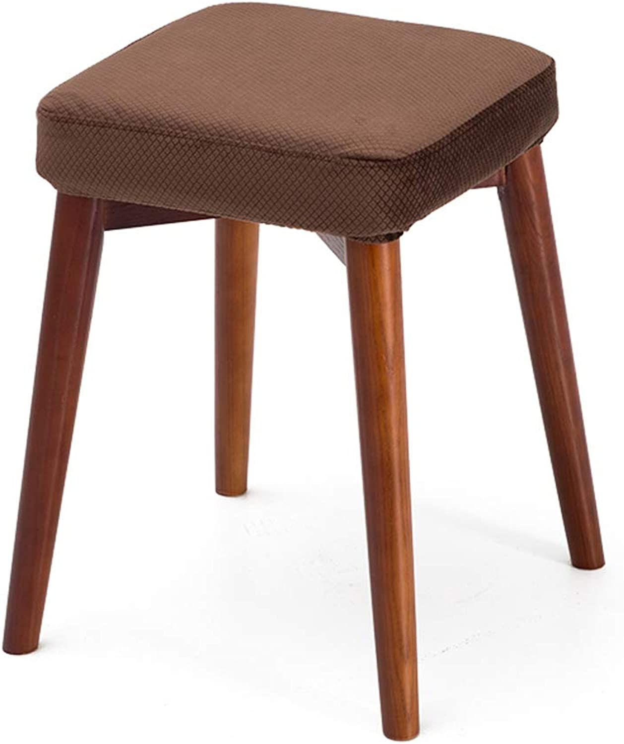 HLQW Solid Wooden Dining Stool Square Stool Can Be Stacked Stool Creative Fashion Dressing Stool Cloth Dining Table Stool Household Small Bench, Brown Legs 6