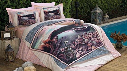 Veronica Bleu mer Motif art Housse de couette, 100% pur coton Double Taille, 4 pièces Parure de lit de luxe