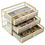 ガラス製 ジュエリーボックス 宝石箱 アクセサリーケース ネックレス 指輪 ピアス 3段3杯引 内側 ベルベット 贈り物 プレゼント グレー色   アンティーク調