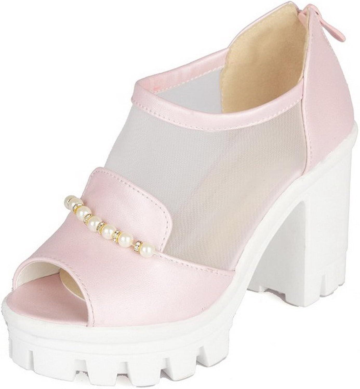 WeiPoot Women's Pu Solid Zipper Open Toe High Heels Heeled-Sandals